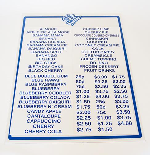 "32"" x 24"" Menu Board / Labels"